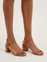 AQUAZZURA Almost Bare 50 crocodile-embossed leather sandals / tan animal print T-bar shoes