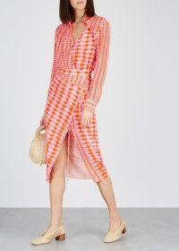 ALTUZARRA Constantina orange and pink checked silk dress