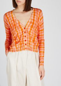 ALTUZARRA Natalia checked silk-blend cardigan ~ pink and orange checks