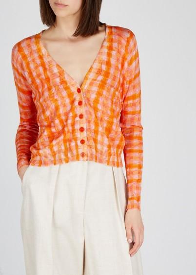 ALTUZARRA Natalia checked silk-blend cardigan ~ pink and orange checks