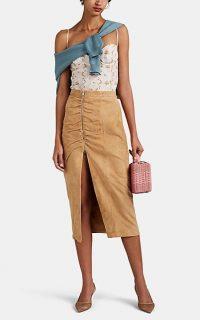 ALTUZARRA Pietro Suede Skirt in Tan | ruched front slit skirts