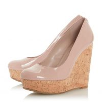 DUNE LONDON Alycea Blush Suede Wedge Sandal | high glossy pink wedges