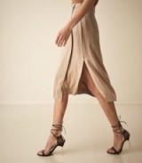 REISS AMALIE SATIN MIDI SKIRT GOLD ~ wrap front skirts