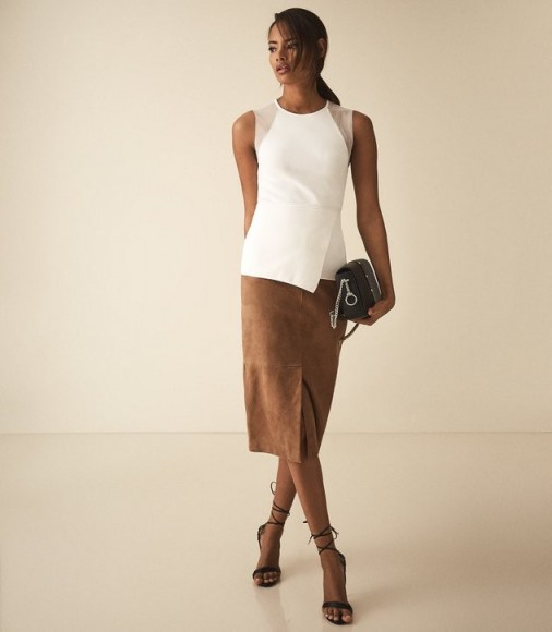 REISS ANABEL SHEER DETAIL SLEEVELESS TOP WHITE ~ fitted asymmetric front tops