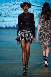 Anna Sui RTW Spring/Summer 2016 New York Fashion Week. designer clothing ~ runway trends ~ black lace ~ outfits