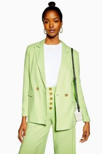 Topshop Apple Green Blazer with Linen | spring jackets