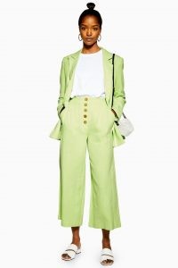 Topshop Apple Green Wide Leg Cropped Trousers with Linen | colours for spring fashion