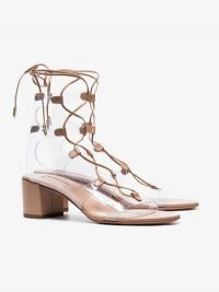 Aquazzura Powder Pink Milos 50 Lace-Up Leather Sandals / clear PVC lace ups