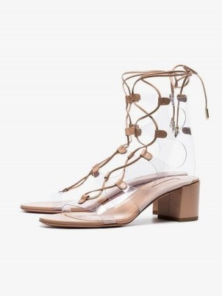 Aquazzura Powder Pink Milos 50 Lace-Up Leather Sandals / clear PVC lace ups - flipped