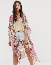 Aratta burnout velvet floral kimono with contrast trim / oriental inspired cover-up
