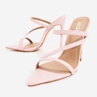 EGO Aria Toe Strap Heel Mule In Light Pink Faux Leather ~ strappy mules