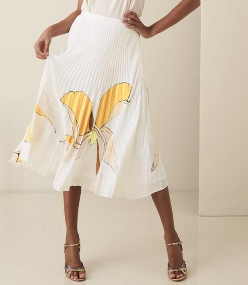 REISS ARMELLE FLORAL PRINTED MIDI SKIRT MULTI WHITE ~ beautiful pleated skirts