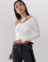 ASOS DESIGN asymmetric knitted top in white | cut-out crop tops