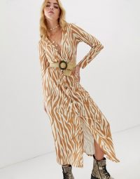 ASOS DESIGN button through belted maxi dress with belt in zebra print ~ animal stripes