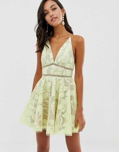 ASOS DESIGN cami prom midi dress with sequin embellishment soft yellow ~ feminine fit and flare