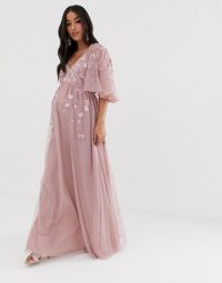 ASOS DESIGN Maternity flutter sleeve maxi dress in embroidered mesh in dusty pink