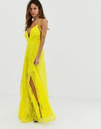 ASOS DESIGN maxi dress in lace cutwork with strappy back and metal ring detail chartreuse ~ glamorous statement