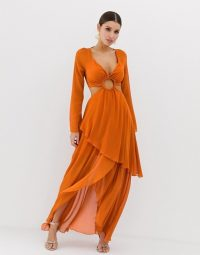 ASOS DESIGN maxi dress with long sleeve and circle trim detail burnt-orange ~ cut-out occasion dresses
