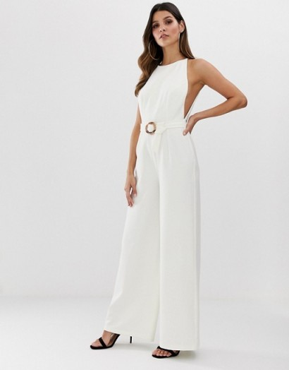 ASOS DESIGN minimal low arm hole wide leg jumpsuit with buckle detail in white