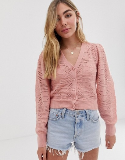 ASOS DESIGN pointelle stitch cardigan with volume sleeve in pink – cuffed sleeve cardi