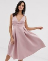 ASOS DESIGN prom midi dress with wrap waist detail in soft mauve | sweet fit and flare