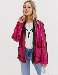 ASOS DESIGN Sequin Jacket in pink