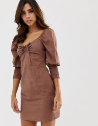 ASOS DESIGN sweetheart neck mini dress with shirred cuffs in brown