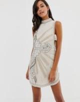 ASOS DESIGN tabbard shift drop armhole embellished mini dress in cream | scoop back party dresses