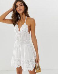 ASOS DESIGN broderie mini sundress with elasticated waist in white | halterneck sundresses