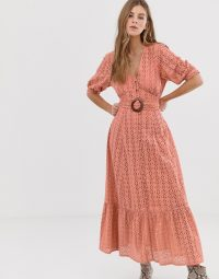 ASOS DESIGN broderie pephem maxi dress with wooden belt in blush pink | long summer frock