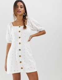 ASOS DESIGN button through broderie tea dress in white   square neck   puff sleeves   spring dresses