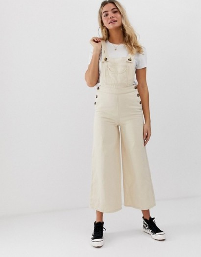 ASOS DESIGN denim dungaree with wideleg in stone | cropped leg overalls | neutral wide leg dungarees