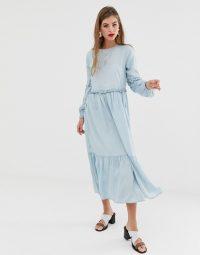 ASOS DESIGN denim midi tiered smock dress in lightwash blue | frill trimmed dresses
