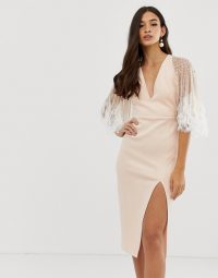 ASOS DESIGN faux feather cape midi pencil dress in blush | deep V-plunge neckline