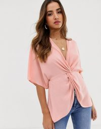 ASOS DESIGN knot front top with kimono sleeve in blush | pink deep V-neck blouse