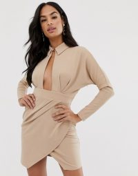 ASOS DESIGN long sleeve wrap shirt mini dress in mink | plunging keyhole front party dresses