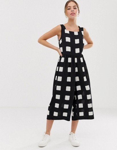 ASOS DESIGN Petite minimal jumpsuit with ruched waist in mono check print / large monochrome checks