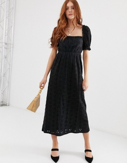 ASOS DESIGN prairie broderie maxi dress in black