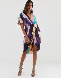 ASOS DESIGN satin kimono midi dress with knot front and asymmetric sleeve in abstract Print
