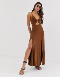 ASOS DESIGN slinky maxi dress with cut out and ring detail in brown