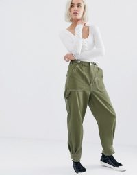 ASOS DESIGN utility trouser with top stitching and tab detail in khaki | green utilitarian fashion