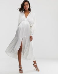 ASOS EDITION ruched batwing midi dress in ivory | floaty plunge front dresses