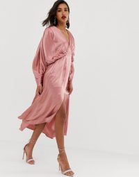 ASOS EDITION ruched batwing midi dress in satin in dusty pink | floaty party dresses