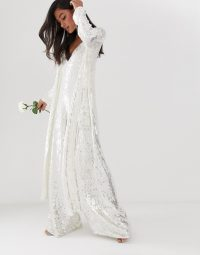 ASOS EDITION split side jacket in sequin in white | luxe maxi jackets