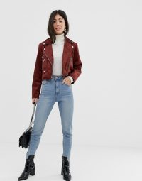 ASOS DESIGN petite suedette biker jacket in brown