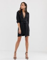 ASOS DESIGN Tall mini tux dress with ruched sleeve in black | wrap front with plunging neckline