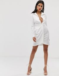 ASOS DESIGN Tall sexy drape bodycon shirt dress in white | deep plunge neckline fashion