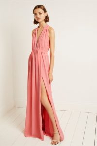 FRENCH CONNECTION ASTER DRAPE HALTER NECK DRESS in PINK WHIP