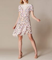 KAREN MILLEN Asymmetric Leopard Lace Dress White / Multi
