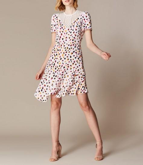 KAREN MILLEN Asymmetric Leopard Lace Dress White / Multi